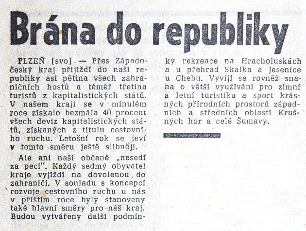 Pravda, čtvrtek 14. září 1967. Článek o tom, kolik jezdí do Československa cizinců a kam vyjíždějí Čechoslováci, vyšel na str. 2.