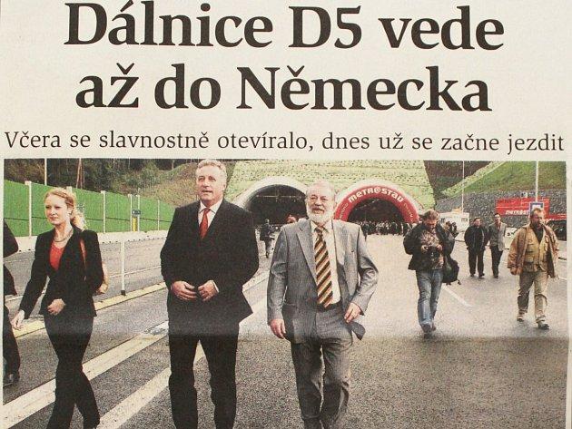 6. října 2006 - dálnice D5 vede až do Německa
