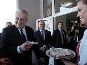 Miloše Zemana v Domažlicích vítaly dívky v barevných chodských krojích