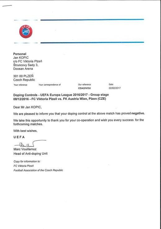 Výsledek dopingové kontroly Jana Kopice