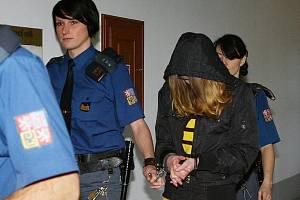 Eskorta přivádí Kristinu H., kryjící si obličej, k plzeňskému Krajskému soudu.