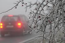 Led obalil větve stromů i keřů a pokryl silnici I/20 Plzeň-Karlovy Vary. Vše ještě zhoršila hustá mlha