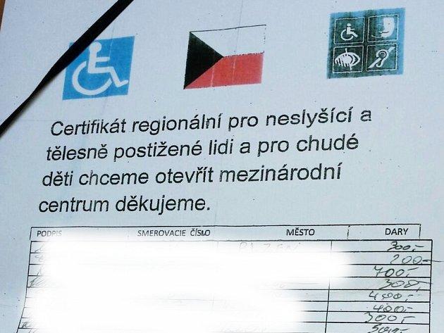Certifikát sbírky, při jehož spatření by měli Plzeňané raději zpozornět.