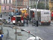 Úsek zrekonstruované Americké třídy od kruhového objezdu ke křižovatce s Martinskou a Resslovou ulicí