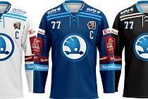 To jsou nové dresy hokejové Škody Plzeň, v nichž bude Gulaš a spol. nastupovat v extraligovém ročníku 2020/21.