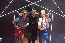 Martin Zahálka ml., Jan Maléř a Vladimír Pokorný (zleva) během zkoušky hry Dortel v plzeňském Divadle J. K. Tyla.