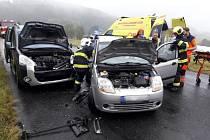 Nehoda osobních aut v Rabí na Klatovsku.