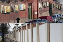 Zeď škodováckého areálu v Borské ulici (spodní snímek) by do konce února měly pokrýt v téměř 30 ze zjhruba 180 polí plakáty billboardy, jimiž se bude prezentovat Škoda Holding a její dceřiné firmy. Podobné plakáty na zdi svého areálu má plzeňský pivovar.