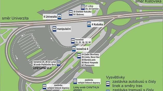 Nový autobusový terminál v Kaplířově ulici v Plzni