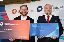 Radovan Sochor (vlevo), vítěz soutěže Moneta Živnostník roku Plzeňského kraje 2021, a Radek Tančouz, zakladatel společnosti RT Soft, která se stala IBM Firmou roku Plzeňského kraje 2021.