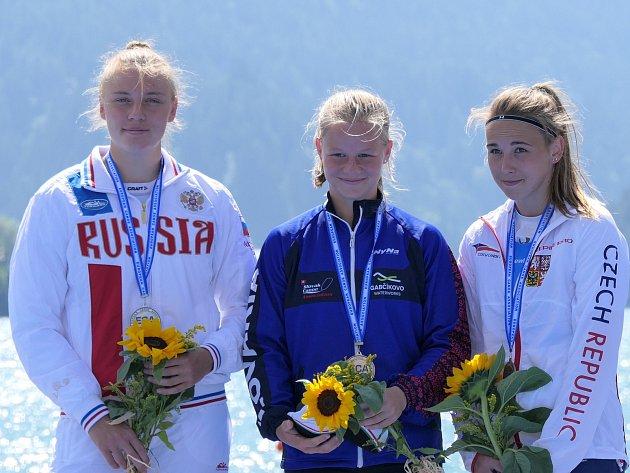 SKVĚLÉHO ÚSPĚCHU dosáhla na mistrovství Evropy juniorů v rychlostní kanoistice závodnice Prazdroje Plzeň Denisa Řáhová, která vybojovala na tratích 500 a 200 metrů dvě bronzové medaile.