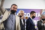 Křest filmu Sigma Stoletá proběhl v Olomouci. Zleva Jan Maroši, Petr Uličný a David Holly