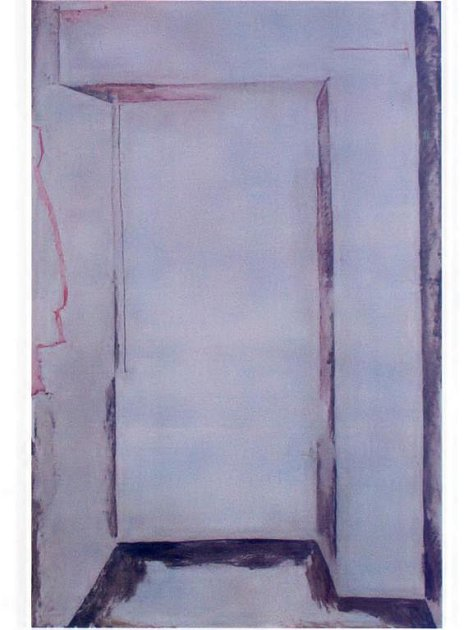 Petr Veselý je nejstarší ze tří brněnských výtvarníků, kteří vystavují v Galerii města Plzně (na snímku jeho email a olej na sololitu Dveře/Chodba, 2007)