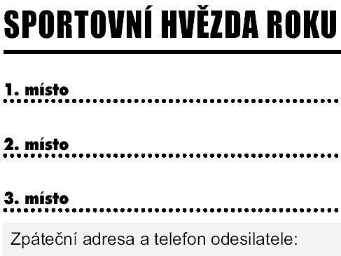 Kupon pro hlasování v anketě Sportovní hvězda roku 2011. Hlasování probíhá pomocí kuponů vystřižených z novin!