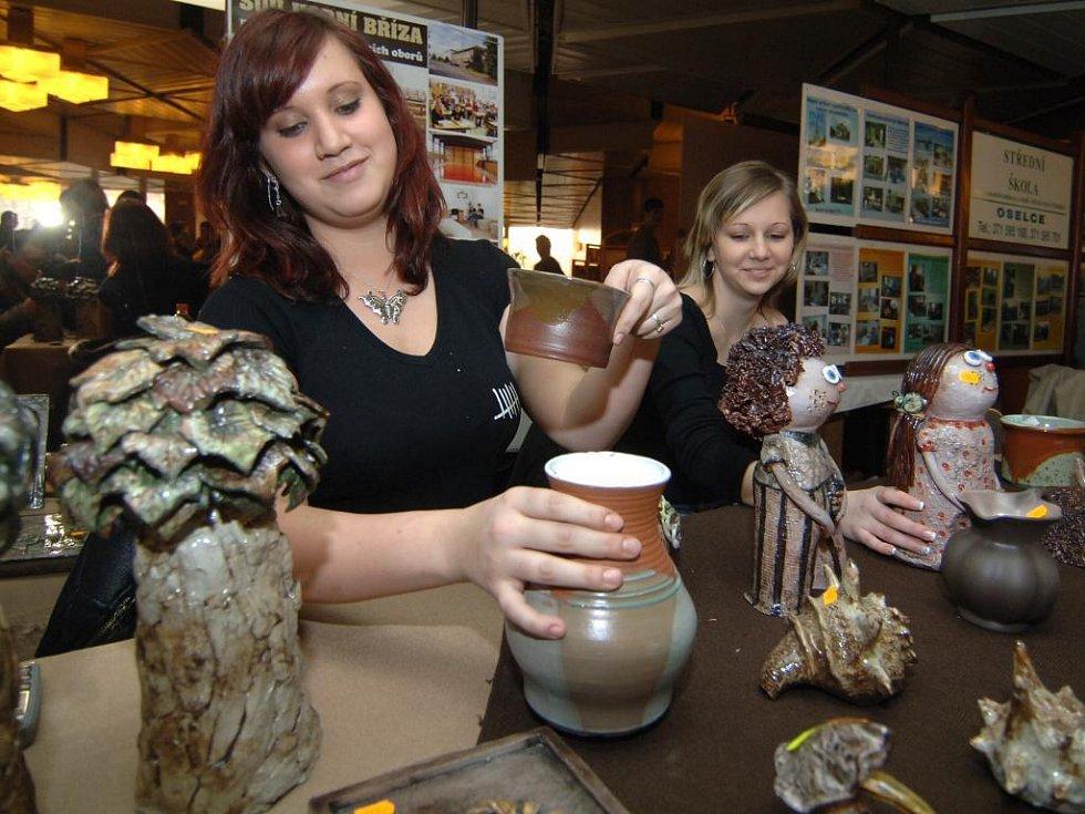 Barbora  Myšíková a Dita Jansová (zleva) prezentovaly v plzeňském Inwestu hornobřízské učiliště, konkrétně jeho obor keramik – keramička. Při fotografování byl pult před nimi sice stále plný keramických dílek, nicméně každé bylo zamluvené nebo prodané