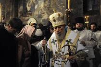 Pravoslavné vánoce se slaví až od 6. prosince kvůli juliánskému kalendáři. Na snímku ukrajinský patriarcha Volodimyr