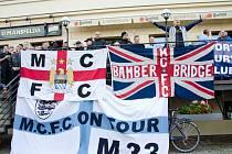 Fanoušci Manchesteru City v ulicích Plzně