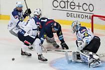 Plzeňský brankář Matěj Machovský likviduje jednu z libereckých šancí v zápase, který Škodovka prohrála 2:4.