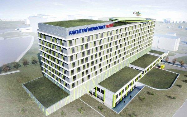 Nový chirurgický pavilon na Lochotíně. Jedná se onejvětší investici vhistorii Fakultní nemocnice Plzeň, která bude stát 1,5až 2miliardy korun. Návrh však musí schválit vláda.