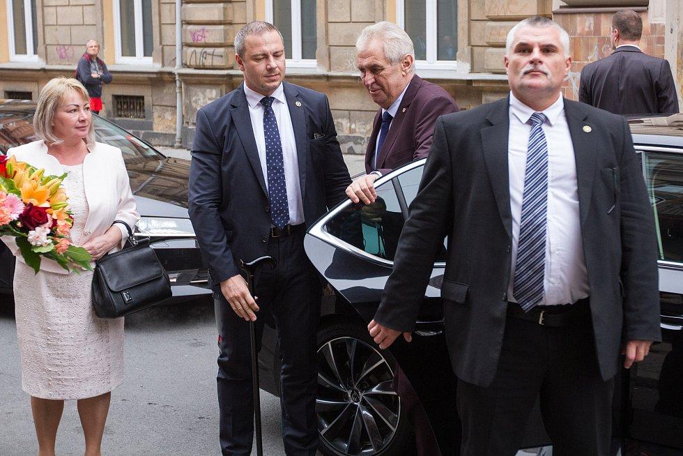 Prezident Miloš Zeman dorazil do Plzně