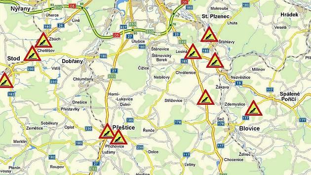 Mapa míst s největší nehodovostí na jižním Plzeňsku