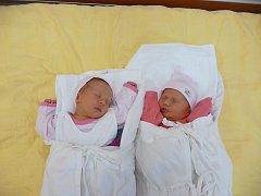 Natálie (2,90 kg, 47 cm) se narodila 27. 1. v 8:28 ve FN, o minutu později se narodila Eliška (2,80 kg, 48 cm). Na světě je přivítali maminka Kateřina Hurtová, tatínek Adam Bartoníček a Richard (15) z Plzně
