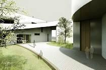 Pohled na duchovní centrum, které navrhla Tereza Nová. Je plné zeleně, uvnitř skrývá vnitřní prostory a kostel. Projekt vznikl v rámci diplomové práce