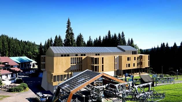 Nový hotel včetně restaurace, půjčovny, servisu, úschovny lyží a kol či recepce se má ve Ski&Bike Špičák začít stavět v létě příštího roku. Vyjde na 50 milionů korun.