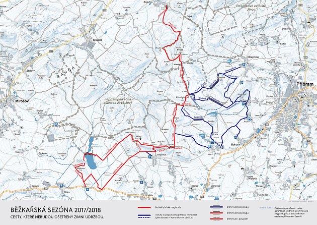 Mapa plánovaných běžkařských tras vCHKO Brdy.