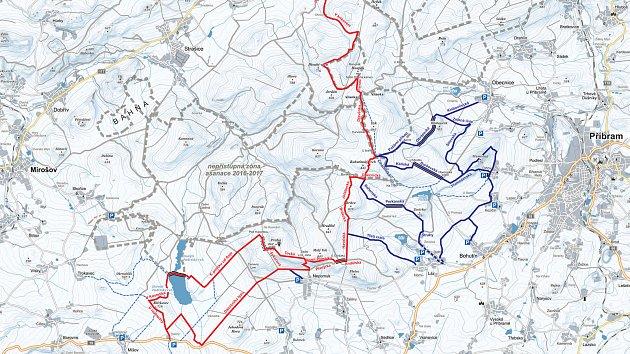 Mapa plánovaných běžkařských tras v CHKO Brdy.