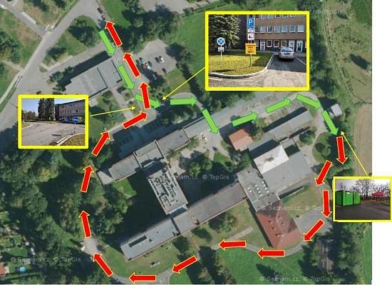 Mapka příjezdu a odjezdu kodběrovému míst vRokycanské nemocnici
