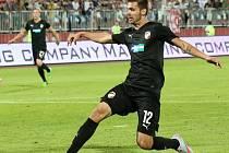 Útočník Viktorie Michal Ďuriš vstřelil v Ďolíčku jediný gól zápasu.