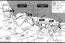 Přerušovaná čára na mapce znázorňuje pozice spojeneckých vojsk 9. června 1944. Plná čára ohraničuje území obsazené spojenci v den vylodění 6. června 1944