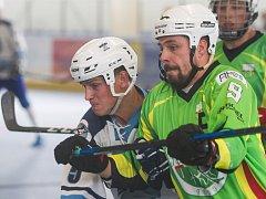 Hokejbalisté Plzně (hráč v bílém) v Sudoměřicích bojovali. I přes střeleckou převahu ale odjeli s pouhým bodem.