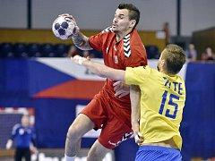 Roman Bečvář (v červeném) se těší na zápas s Ruskem v plzeňské hale Lokomotivy.