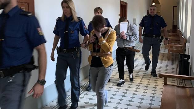 Snímek, když Plzeňský krajský soud rozhodoval v případu polského páru obžalovaného z vydírání a znásilnění mladé ženy z Řecka.