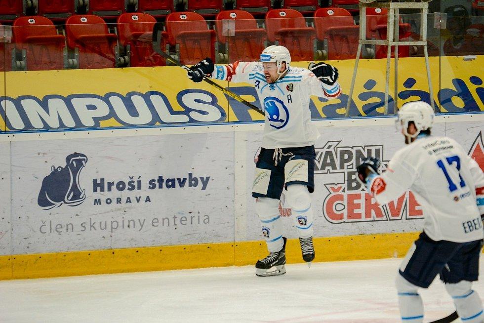 Takhle Petr Straka slavil  v Olomouci gól na 1:1, ale Škodovka nakonec třetí zápas předkola play-off prohrála a vypadla ze hry.