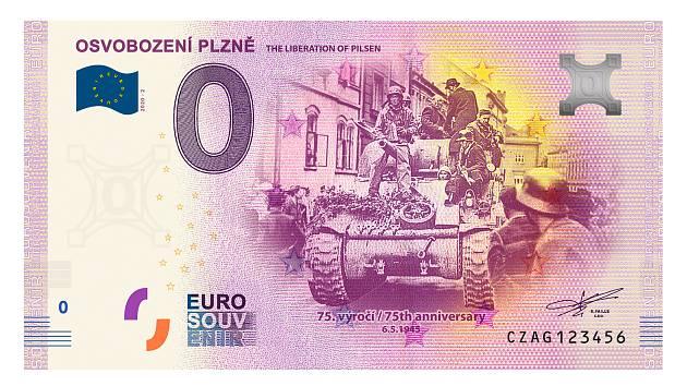 Podoba pamětní bankovky, která připomíná osvobození Plzně.