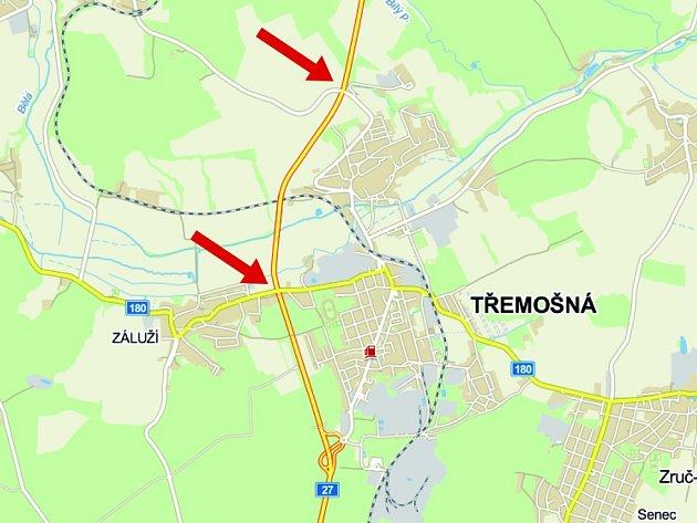 Kritická místa dvou křižovatek na obchvatu Třemošné