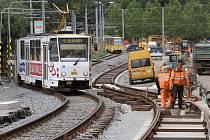 Pohled na rekonstruovanou trať U Zvonu.