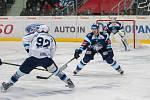 Utkání 51. kola Tipsport extraligy ledního hokeje se odehrálo 2. března v liberecké Home Credit areně. Utkaly se celky Bílí Tygři Liberec a HC Škoda Plzeň. Na snímku zleva Denis Kindl, Lukáš Derner a Roman Will.
