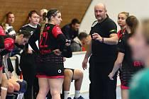 Házenkářky DHC Plzeň vedly tabulku zrušené první ligy, a tak si zaslouží hrát MOL ligu. Na snímku jsou v popředí trenér Richard Řezáč a Dominika Galušková.