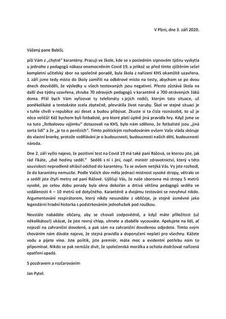 Dopis adresovaný premiérovi Andreji Babišovi