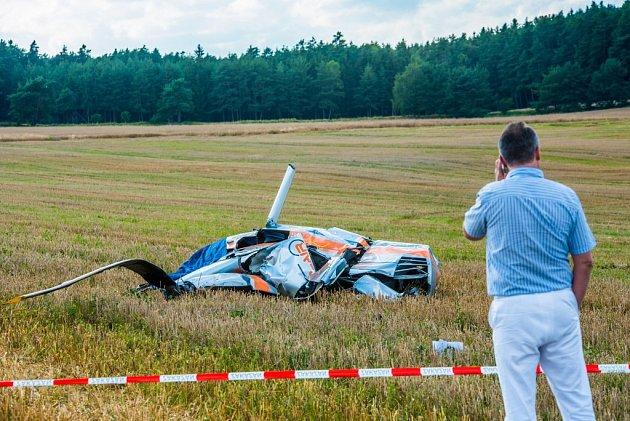 Havárie vrtulníku uRybnice na severním Plzeňsku
