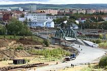 Stavba tramvajové trati na Borská pole