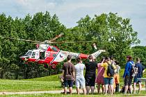 Cvičení hasičů na Borské přehradě.