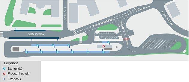 VŠumavské ulici bude devět autobusových stání: 1směr Losiná, 2směr Zruč-Senec, 3směr Starý Plzenec/Letkov, 4Chrást/Kyšice/Ejpovice, 5Kozolupy, 6Kralovice, 7výstupní, 8a 9zatím prázdné.