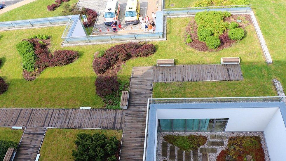 Zelená střecha onkologického pavilonu FN Plzeň