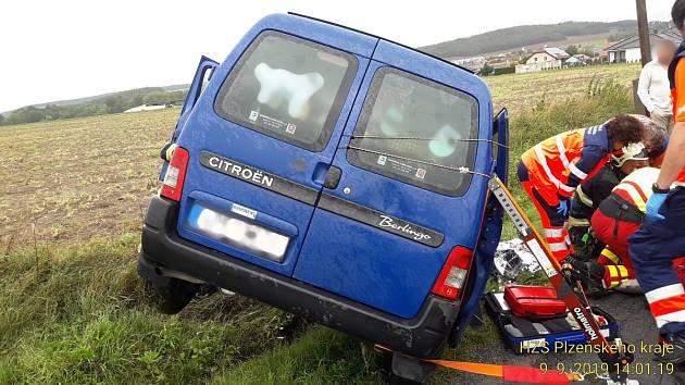 Havárie osobního auta u Merklína na jižním Plzeňsku