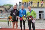Nejúspěšnější ženy v běhu na 100 m s překážkami. Zleva bronzová Kateřina Vébrová, uprostřed vítězka Markéta Marková a druhá nejrychlejší Petra Chovancová.